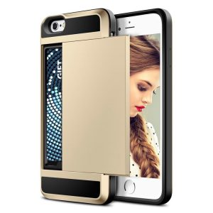 Acente Wallet Card Slot Holder Phone case gold – Fits iPhone 8 iPhone 7 at amaxmarket.com