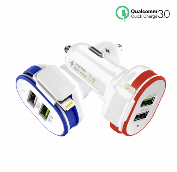 USB car charger for Android and iPhone | Quick Charge 3.0 | Small size | Dual USB ports | 3.0A output | Blue LED power light | Red and Blue color option | Amax Goods | Amaxmp.com