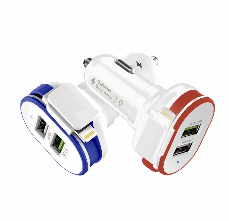 Dual USB car charger for Android and iPhone | Quick Charge 3.0 | Small size | Dual USB ports | 3.0A output | Blue LED power light | Red and Blue color option | Amax Goods | Amaxmp.com